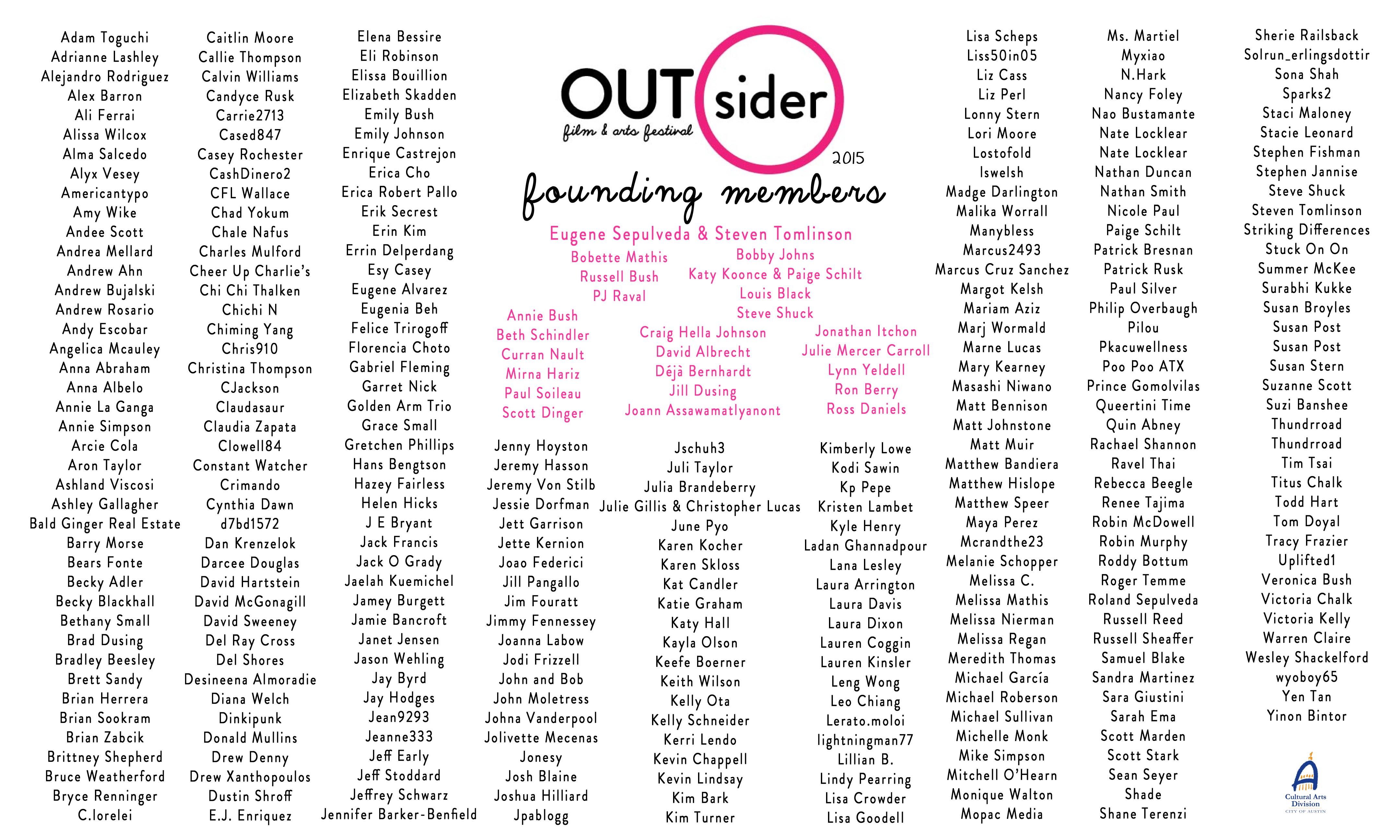 OUTsider Founding Members Banner